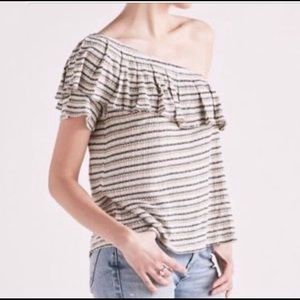 NWT Lucky Brand Striped One Shoulder Top